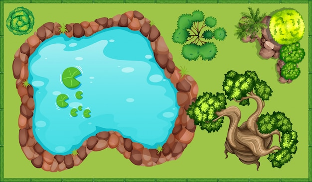 Small pond in the park Free Vector