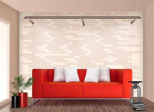 L'interior design alla moda della piccola stanza con il sofà e il vaso da fiori rossi illumina l'illustrazione realistica delle pareti neutre Vettore gratuito