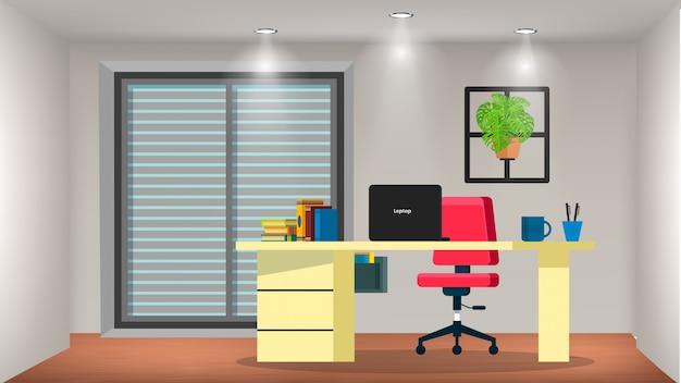 作業机付きの小さな部屋 Premiumベクター