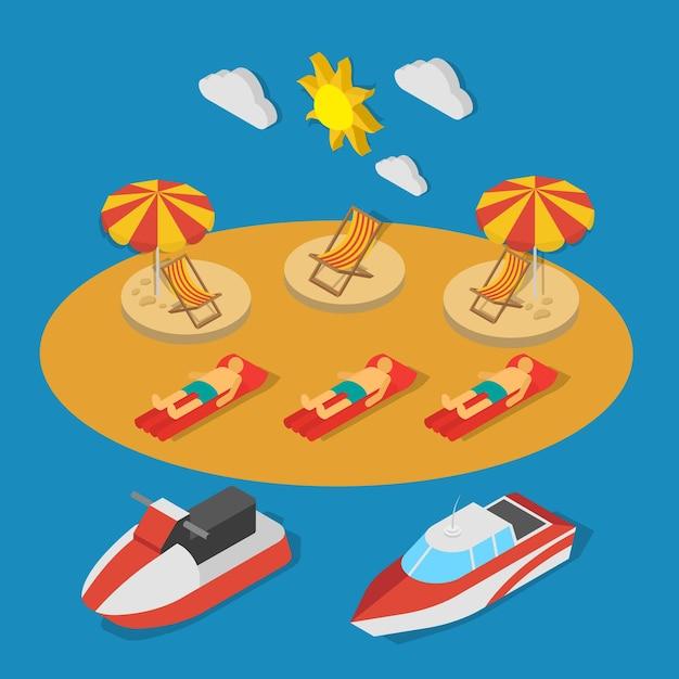 青い背景のベクトル図の日光浴等尺性組成物の間に人とビーチの近くの小さな船 無料ベクター