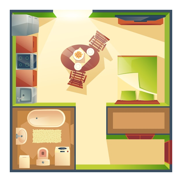 Small studio apartment with combined kitchen, living room and bedroom cartoon Free Vector