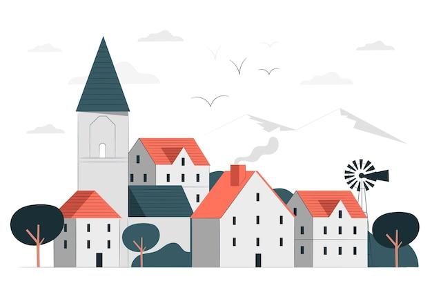 小さな町のコンセプトイラスト 無料ベクター