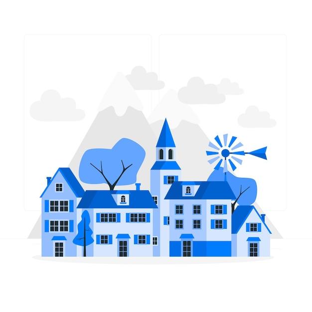 Иллюстрация концепции городка Бесплатные векторы