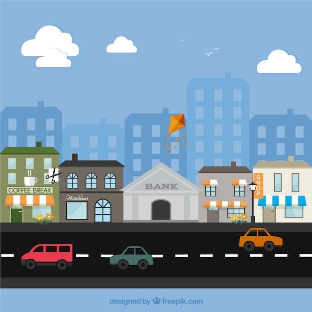 Town Landscape Vector Illustration: Small Town Landscape Vector