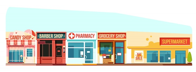 Small town street cityscape, flat style Premium Vector