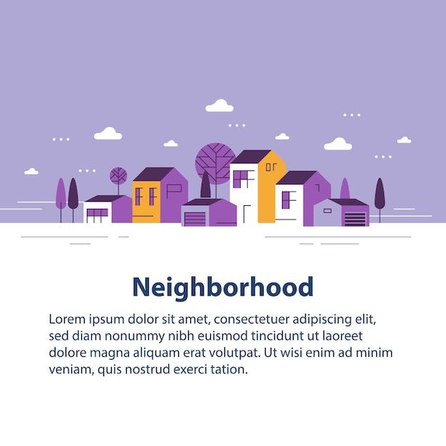 小さな町、小さな村の景色、住宅の列、美しい近所、不動産開発、デザインイラスト Premiumベクター