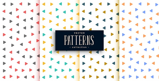 Small triangle patterns set in different colors Free Vector