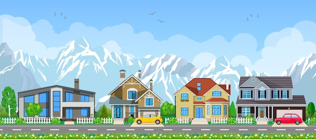 Small village landscape. Premium Vector