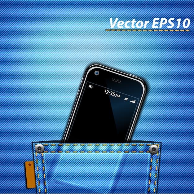 Smarphone in pocket Premium Vector