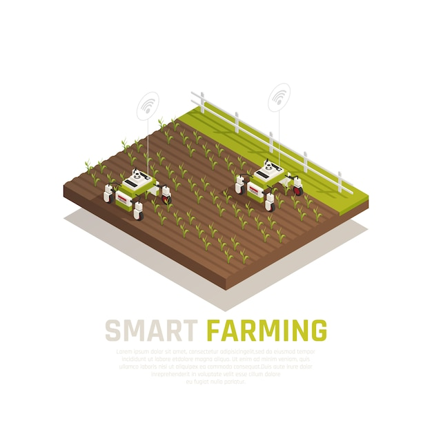 Smart agriculture concept with agriculture machines and harvest  isometric  illustration Free Vector