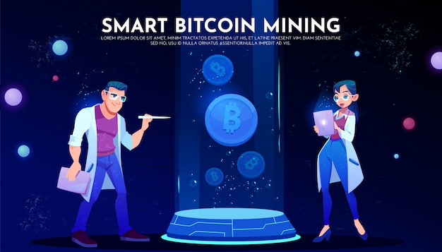 Smart bitcoin mining landing page, scientists Free Vector