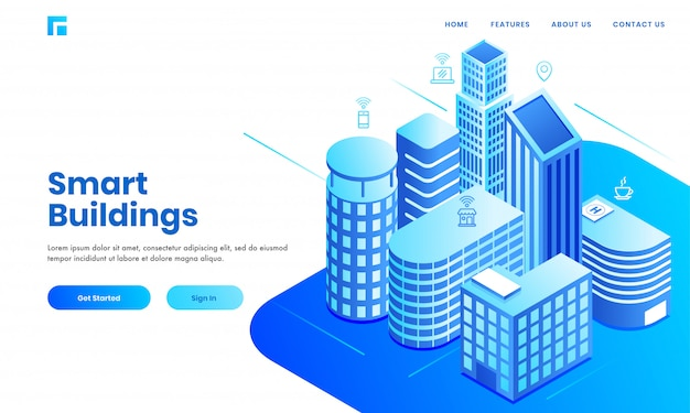 Smart building concept based landing page design with isometric real estate buildings area showing residentials, hospital and commercial space. Premium Vector