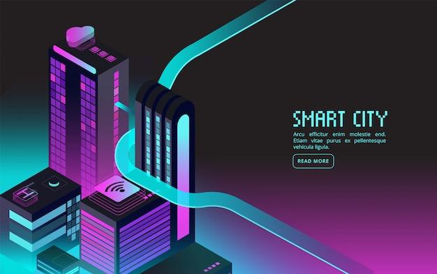 スマートビル。夜の街のインテリジェントハウス。拡張現実3 d等尺性抽象的な未来的なバナー Premiumベクター
