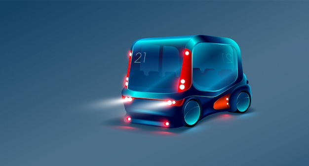 Smart bus on isolated blue Premium Vector