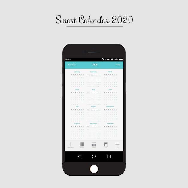 Smart calendar app ui/ux design Premium Vector