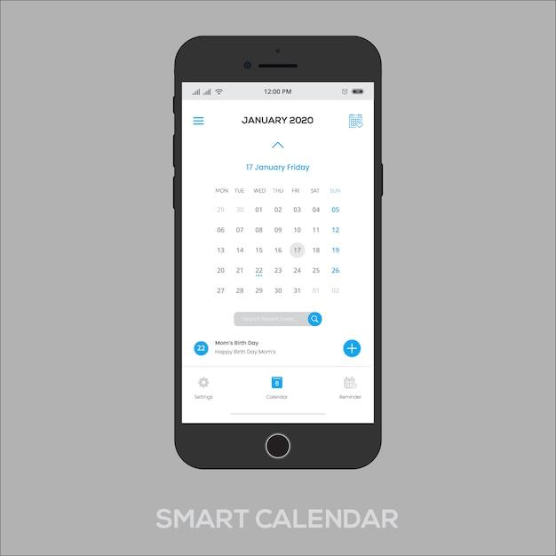 Smart calendar app ui ux Premium Vector