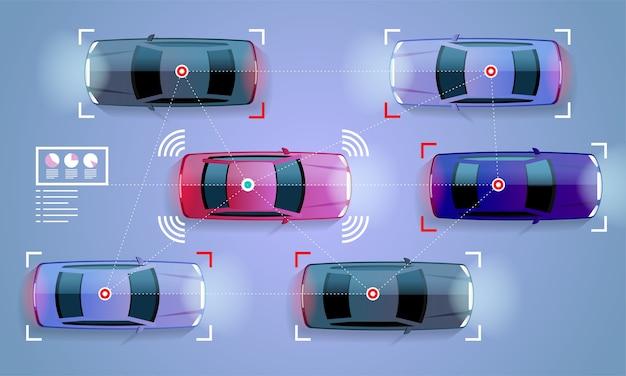 スマートカーコンセプト街路図の自動運転車 Premiumベクター