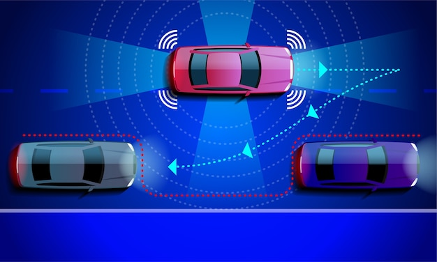 Smart car parking assist system parallel parking. Premium Vector