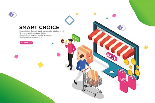 Smart choice isometric design concept Premium Vector