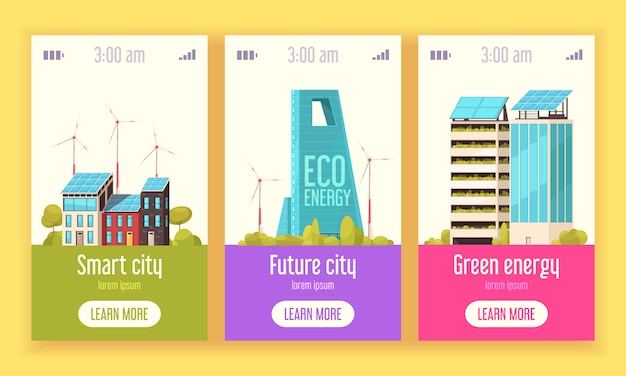 Smart city 3 flat vertical web banners with green energy wind and solar power systems Free Vector