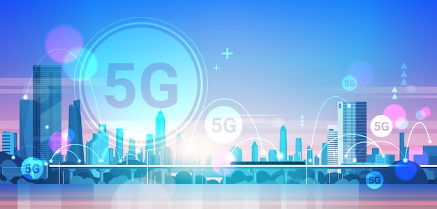 Smart city 5g online communication network wireless systems connection concept Premium Vector