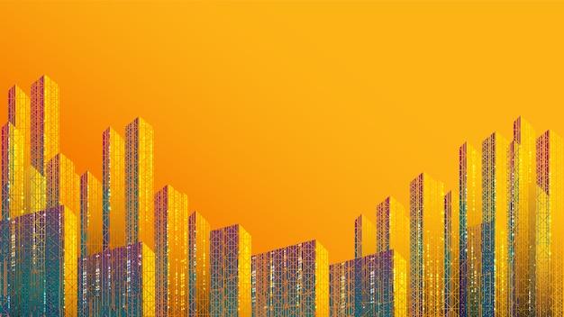 Smart city background, communication, network, connection. futuristic colorful design.