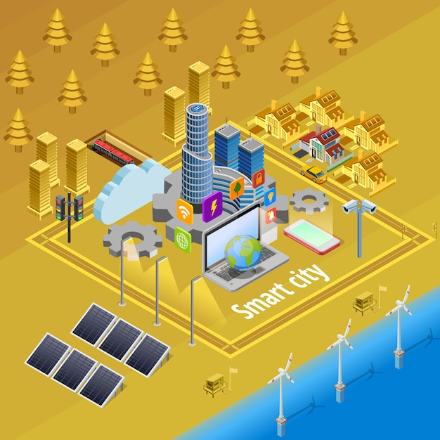 Smart city internet infrastructure isometric poster Free Vector