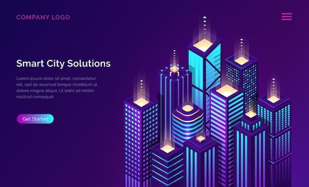 スマートシティ、モノのインターネットネットワークテクノロジー 無料ベクター