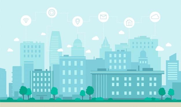 Smart city internet technology concept flat vector illustration. Premium Vector