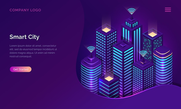 Smart city, internet of things or wireless network isometric Free Vector