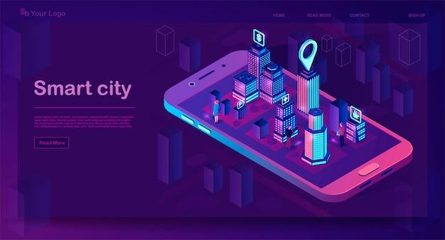 スマートシティ等尺性建築コンセプト。ネオンの建物とwebバナー。未来都市のスマートフォンアプリマップ。標識付きのインテリジェントな建物。モノのインターネット。図 Premiumベクター
