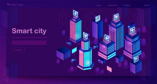 スマートシティ等尺性建築コンセプト Premiumベクター