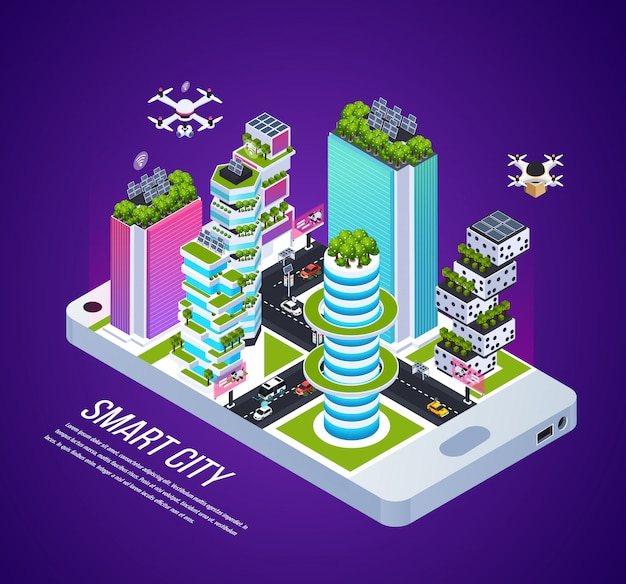 Smart city isometric composition with city technology and energy, isometric vector illustration Free Vector