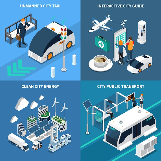 Smart city isometric illustration set with clean city symbols isolated illustration Free Vector