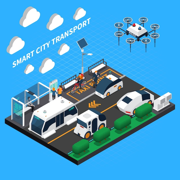 Smart city isometric illustration with transport and taxi point symbols Free Vector