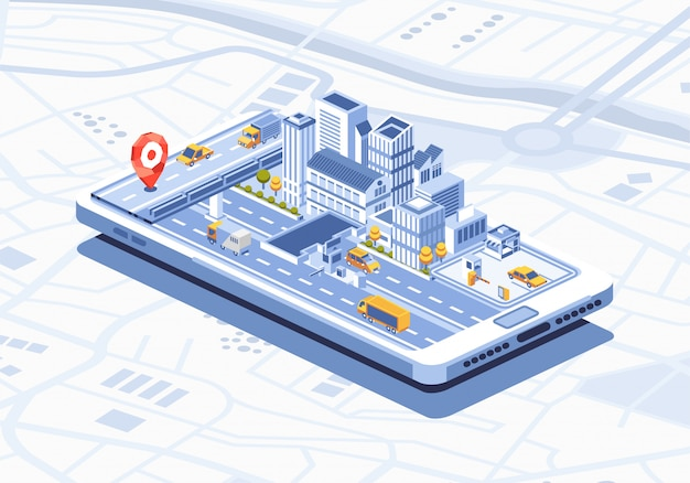 Smart city isometric mobile app on smartphone illustration Premium Vector