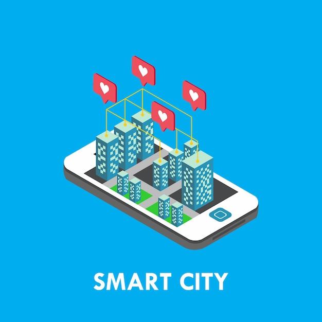 Smart city isometric vector template design illustration Premium Vector