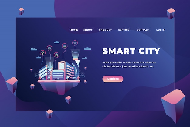 Smart city landing page template Premium Vector