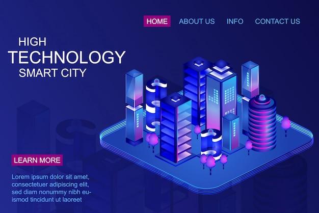 スマートシティのランディングページ Premiumベクター