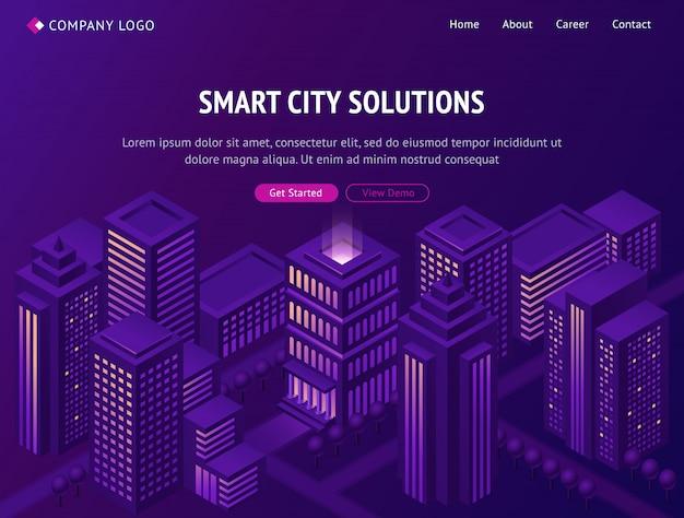 Smart city metropolis isometric landing page. Free Vector