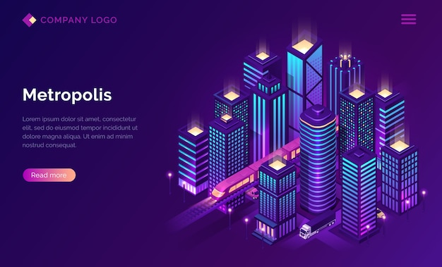 Smart city metropolis isometric landing page. Free Vector