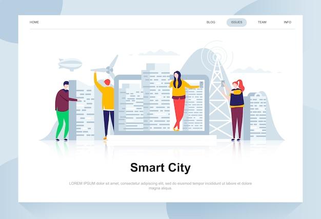 Smart city modern flat design concept. Premium Vector