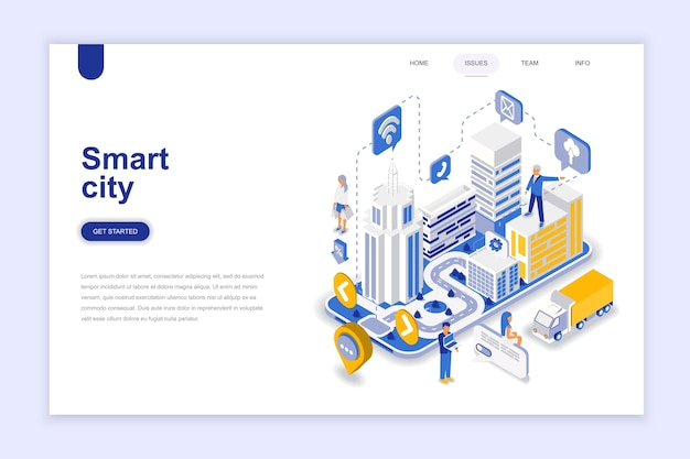 Smart city modern flat design isometric concept. Premium Vector
