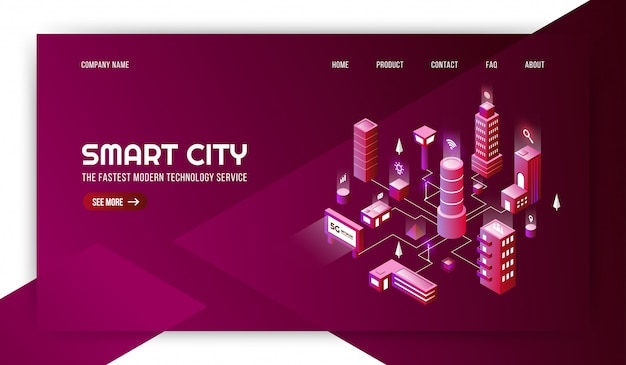 Smart city modern technology sevice with the connected metropolis background Premium Vector