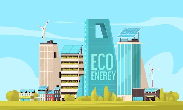 Умный город, дружелюбный жилой комплекс с эффективным использованием земли и экологически чистой экологически чистой энергии Бесплатные векторы