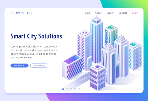 Smart city solutions banner. isometric futuristic town with skyscrapers, Free Vector