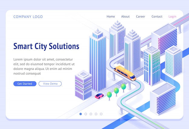 Smart city solutions banner. sustainable development, urban infrastructure innovation. landing page with isometric illustration of modern town with skyscrapers, monorail train and car road Free Vector