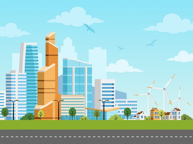 Smart city and suburb vector panorama Premium Vector
