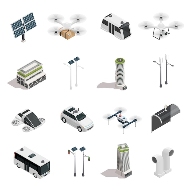 Smart city technology isometric elements set Free Vector
