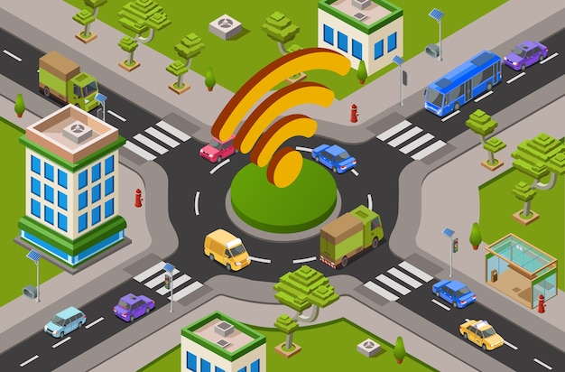 Smart city transport and wifi technology 3d illustration of urban traffic crossroad Free Vector